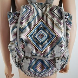 Aldo Canvas Backpack Beaded Sequins Tan